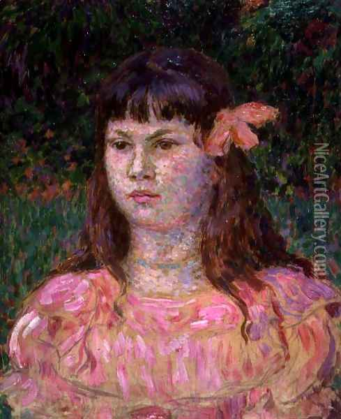 The Pink Ribbon (Sylvie Lacombe), late 1890s Oil Painting - Theo van Rysselberghe
