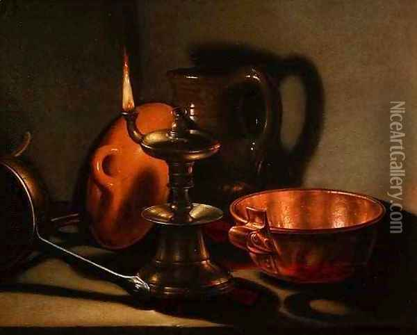 A Still Life with an oil lamp Oil Painting - Cornelis Jacobsz Delff