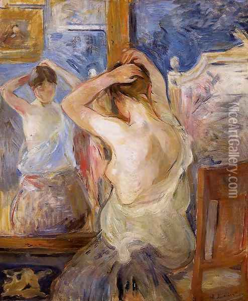 Before The Mirror Oil Painting - Berthe Morisot