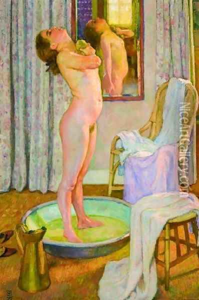 Young Girl In The Tub Oil Painting - Theo van Rysselberghe