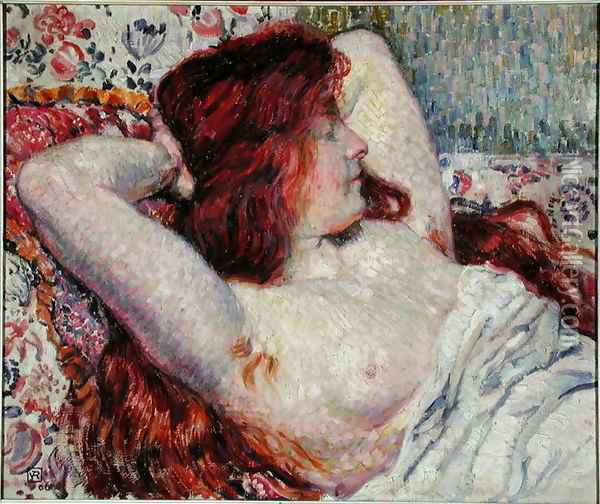 Woman with Red Hair, 1906 Oil Painting - Theo van Rysselberghe