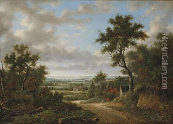 View In Surrey Oil Painting - Patrick, Peter Nasmyth