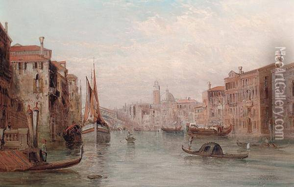 The Grand Canal, The Rialto Bridge In The Distance Oil Painting - Alfred Pollentine