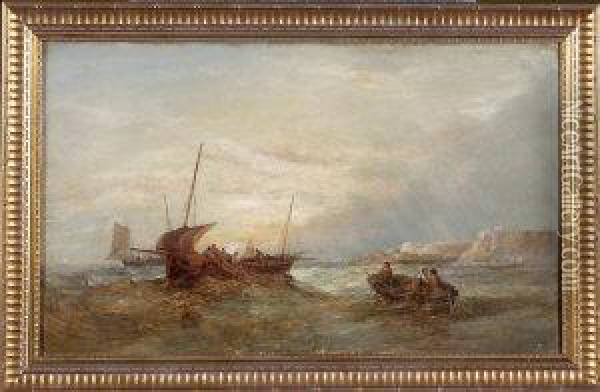 Fishing Boats Off The Yorkshire Coast At Sunrise Oil Painting - Alfred Pollentine