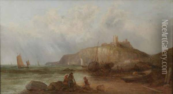 Dunstanborough Castle Signed 18 X 32in Oil Painting - Alfred Pollentine