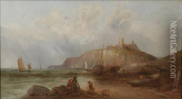 Dunstanborough Castle Oil Painting - Alfred Pollentine