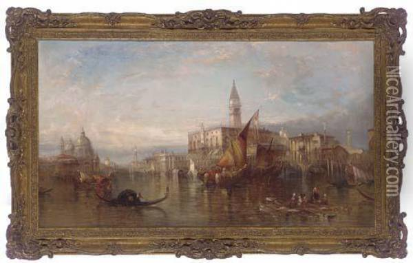The Doge's Palace From The Grand Canal, Venice Oil Painting - Alfred Pollentine