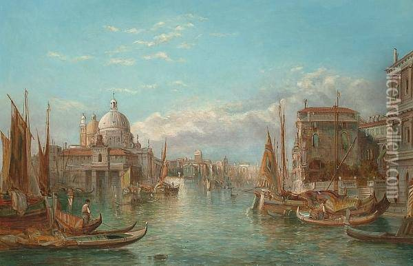 The Ducal Palace, Venice; S. Maria Della Salute, Venice Oil Painting - Alfred Pollentine