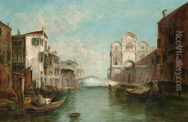Scuola Di San Marco; And A View On A Venetian Canal Oil Painting - Alfred Pollentine