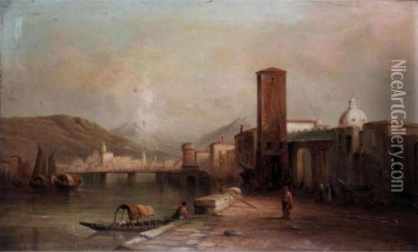 A Port Scene Oil Painting - Alfred Pollentine