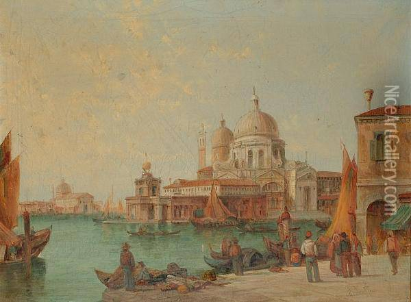 The Dogana, Venice Oil Painting - Alfred Pollentine