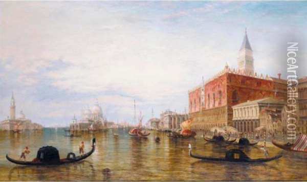 Gondolas On The Grand Canal In Front Of The Doge's Palace, Venice Oil Painting - Alfred Pollentine