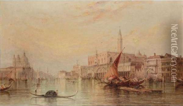 The Grand Canal With The Doge's Palace Oil Painting - Alfred Pollentine