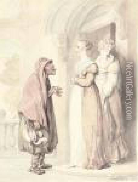 An Old Woman With Two Girls At A Doorway Oil Painting - Thomas Rowlandson