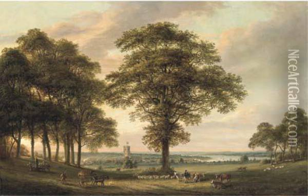Woolwich From The Conduit Hill, The Thames Estuary Beyond Oil Painting - Paul Sandby