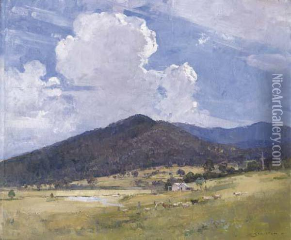 Hills And Clouds Oil Painting - Arthur Ernest Streeton