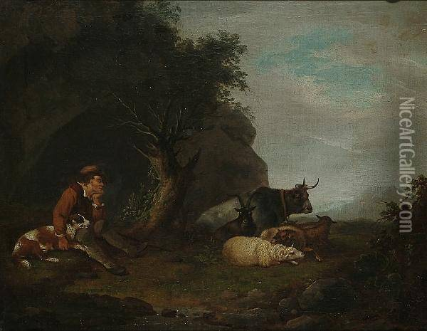 A Watchful Shepherd And His Stock Oil Painting - George Morland
