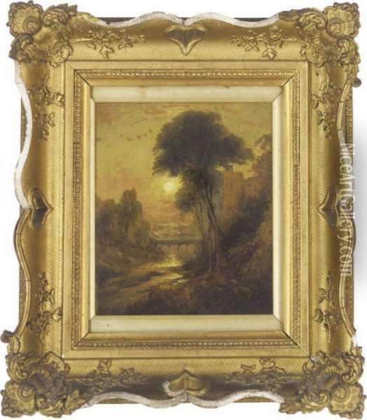 An Aquaduct, Sunset Oil Painting - Joseph Mallord William Turner
