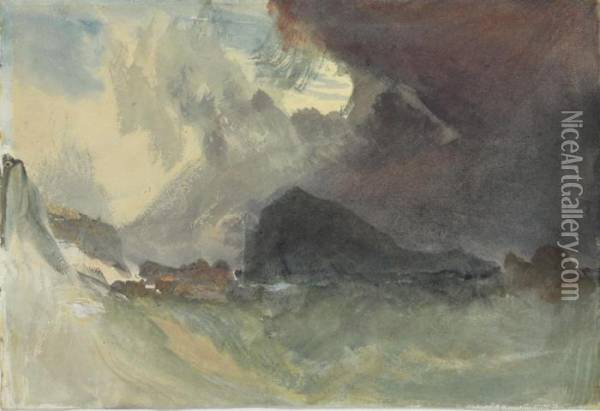 The Mew Stone Off Plymouth Harbour - A Study Oil Painting - Joseph Mallord William Turner