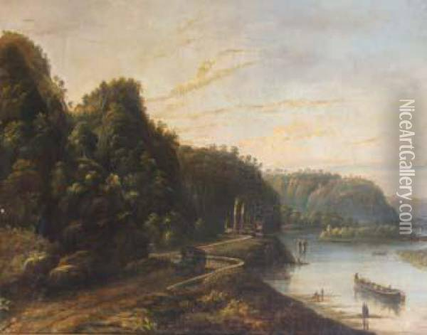 After Joseph Mallord William Turner R.a. , River Scene With Figures Oil Painting - Joseph Mallord William Turner