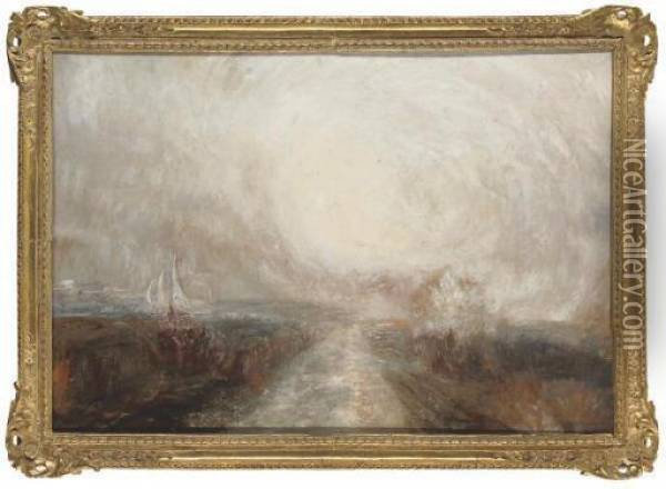 A Sunny Day Off The Coast Oil Painting - Joseph Mallord William Turner