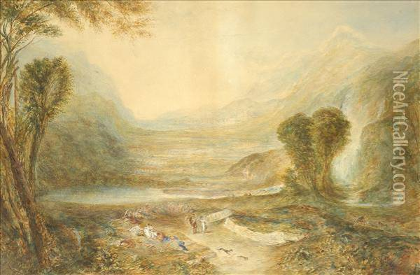 Follower Of Joseph Mallord William Turner Landscape With Hunting Party Oil Painting - Joseph Mallord William Turner