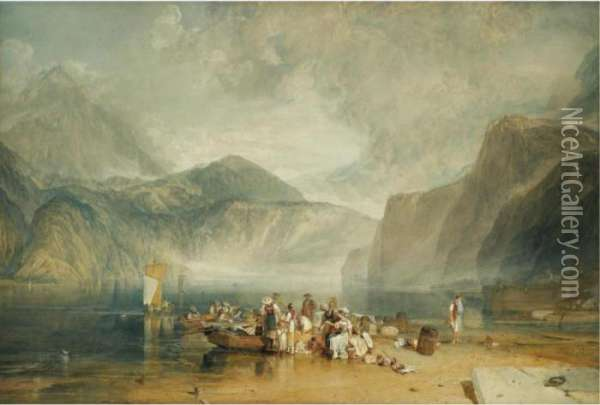 Lake Of Lucerne, From The  Landing Place At Fleulen, Looking Towards Bauen And Tell's Chapel,  Switzerland Oil Painting - Joseph Mallord William Turner