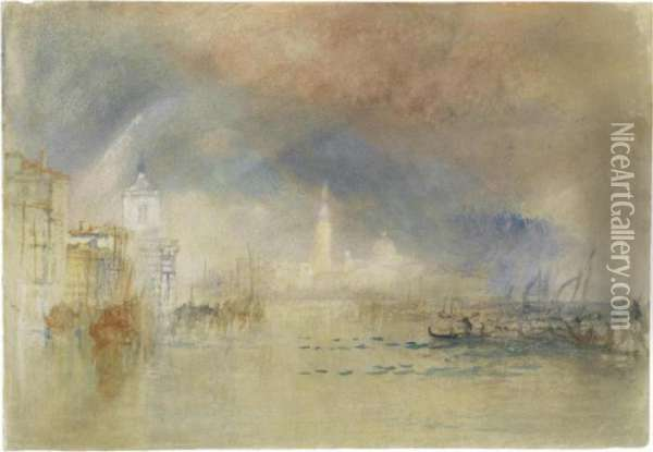 Venice: Looking Towards The Dogana And San Giorgio Maggiore, With A Storm Approaching Oil Painting - Joseph Mallord William Turner