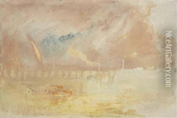 A View On The Mosel, Possibly Coblenz, Germany Oil Painting - Joseph Mallord William Turner