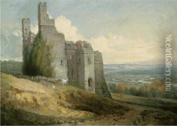View Of Harewood Castle From The South East Oil Painting - Joseph Mallord William Turner