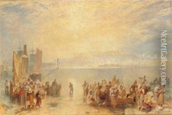 Granville: Fisherfolk On The Beach At Sunset Oil Painting - Joseph Mallord William Turner