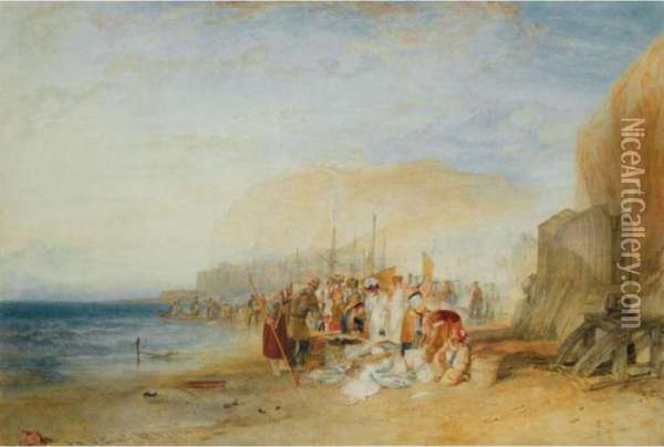Hastings: Fish Market On The Sands, Early Morning Oil Painting - Joseph Mallord William Turner