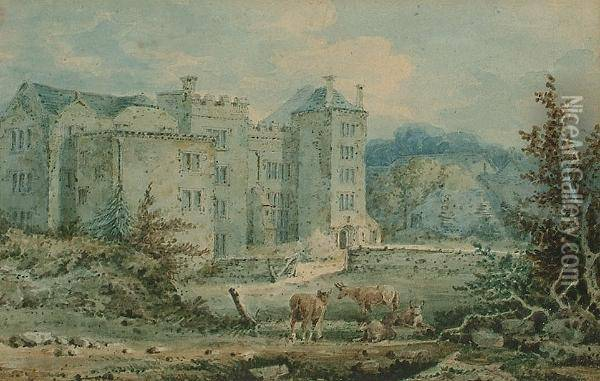 Cattle Before A Manor House Oil Painting - Joseph Mallord William Turner