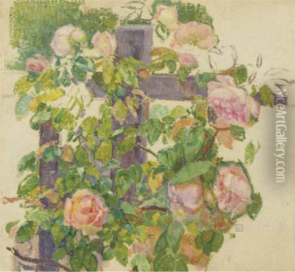 Pink Roses Over A Fence Oil Painting - Theo van Rysselberghe