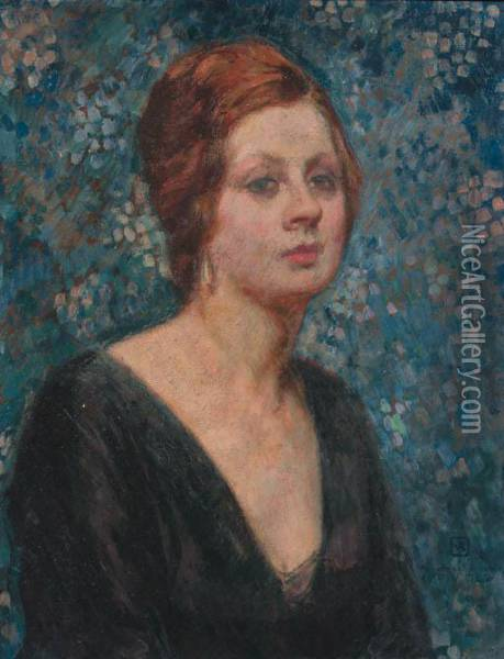 A Portrait Of Valentine Tessier Oil Painting - Theo van Rysselberghe