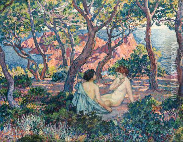 A L'ombre Des Pins Oil Painting - Theo van Rysselberghe