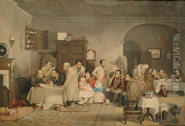 Rent Day Oil Painting - Sir David Wilkie