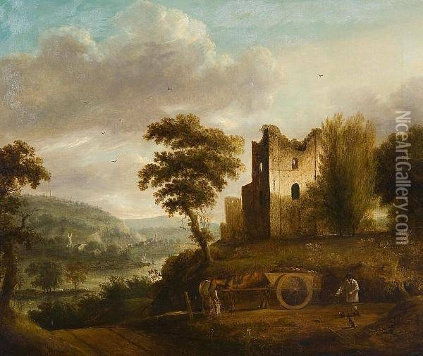 River Landscape With Figure, Horses And Timber Cart Before Castle Ruins Oil Painting - Thomas Barker of Bath