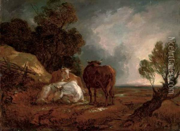 A Wooded Landscape With Cattle Oil Painting - Thomas Barker of Bath