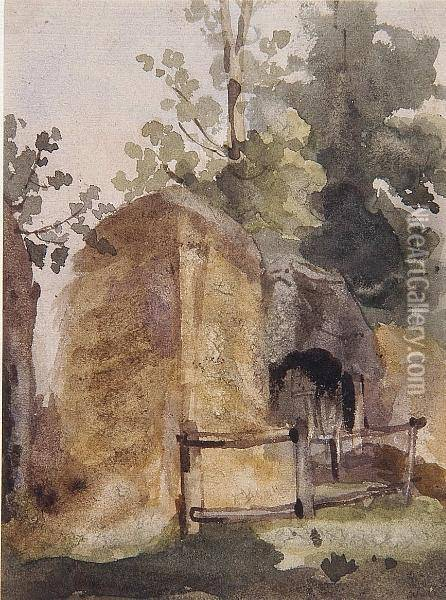 Castle Gateway, Possibly Caister Oil Painting - Thomas Gainsborough