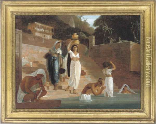 Hindu Women And Brahmans At A Ghat On The Ganges Oil Painting - William Daniell RA