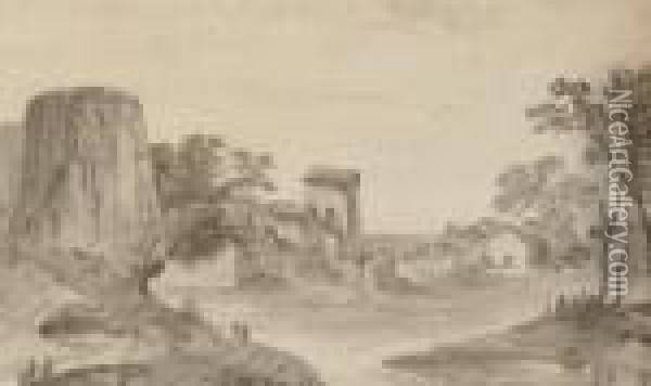 Village Of Churnnan On The Road From Agra To Delhi Oil Painting - William Daniell RA