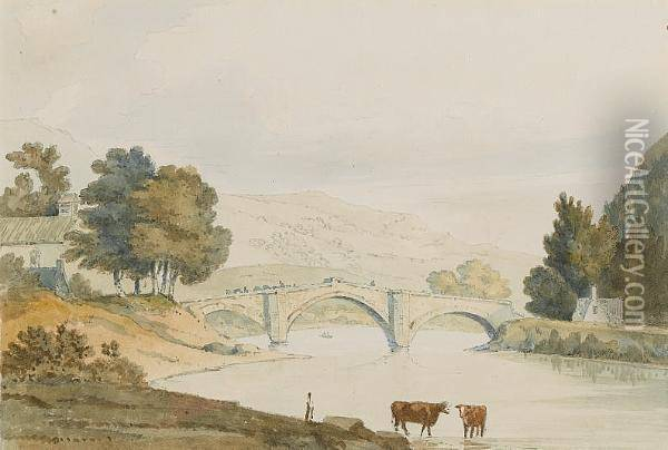 The Bridge At Llanrwst, North Wales Oil Painting - William Daniell RA