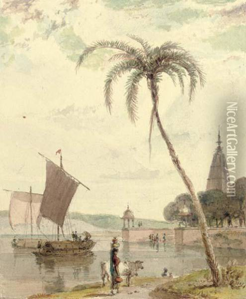 View On The Ganges Oil Painting - William Daniell RA