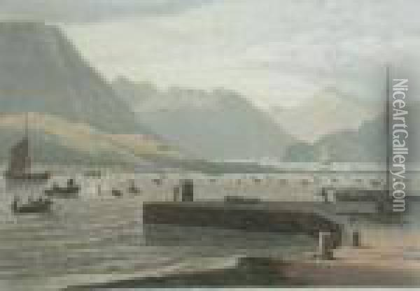Part Of The Isle Of Rum Oil Painting - William Daniell RA