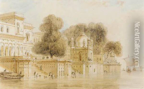 Ghats At Bithur Oil Painting - William Daniell RA