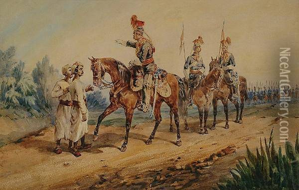 9th Lancers; 12th Lancers Oil Painting - Orlando Norie