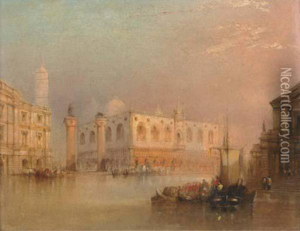 Vessels Before St Mark's Square, Venice Oil Painting - Edward Pritchett