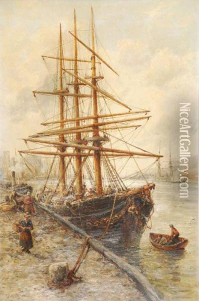 Peel Harbour, Isle Of Man Oil Painting - William Edward Webb