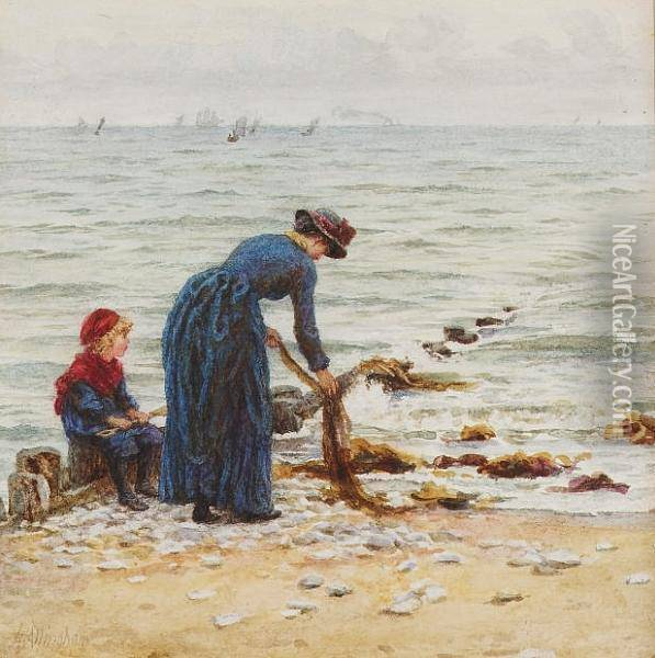 On The Beach Oil Painting - Helen Mary Elizabeth Allingham